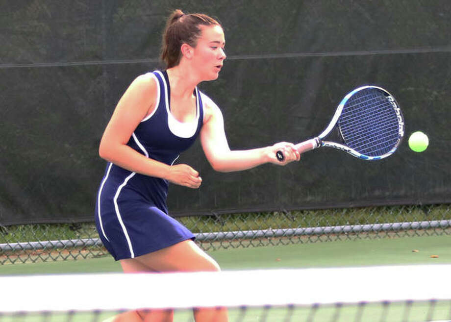 Lily Ingram of Jerseyville teamed with Sabrina Ingram to defeat Hannah Butkovich and Kennedy Loewen 8-1 to win the Girls 18's crown at the Alton Closed Doubles Tournament Wednesday at Alton High School. Photo: Telegraph File Photo