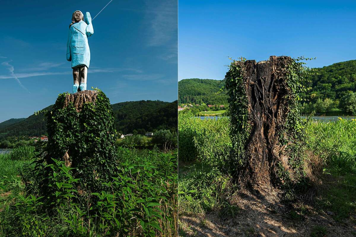 (COMBO) This combination of pictures created on July 07, 2020 shows (Left) a file photo taken on July 5, 2019 of what conceptual artist Ales 'Maxi' Zupevc claims is the first ever monument of Melania Trump, set in the fields near town of Sevnica, US First Ladys hometown, and (Right) a photo taken on July 7, 2020, showing the charred remains of a tree trunk that once acted as a plinth to the wooden statue of Melania Trump seen in a field near town of Sevnica. - After Melania cake, Melania honey, and even Melania slippers, the Slovenian hometown of the US's first lady will now boast a statue of its most famous daughter -- albeit one which has faced decidedly mixed reviews. The life-size statue on the outskirts of Sevnica was inaugurated on July 5, 2019. The statue was set on fire by unknown perpetrators on July 5, 2020, a year after the official inaugural celebrations. (Photos by Jure Makovec / AFP) / RESTRICTED TO EDITORIAL USE - MANDATORY MENTION OF THE ARTIST UPON PUBLICATION - TO ILLUSTRATE THE EVENT AS SPECIFIED IN THE CAPTION RESTRICTED TO EDITORIAL USE - MANDATORY MENTION OF THE ARTIST UPON PUBLICATION - TO ILLUSTRATE THE EVENT AS SPECIFIED IN THE CAPTION / (Photo by JURE MAKOVEC/AFP via Getty Images)