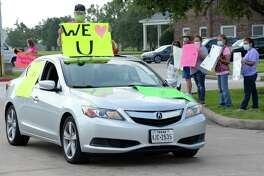 Brookwood community members greet Day Citizens and their families during a car parade at The Brookwood Community, Brookshire, TX on Thursday, July 9, 2020.
