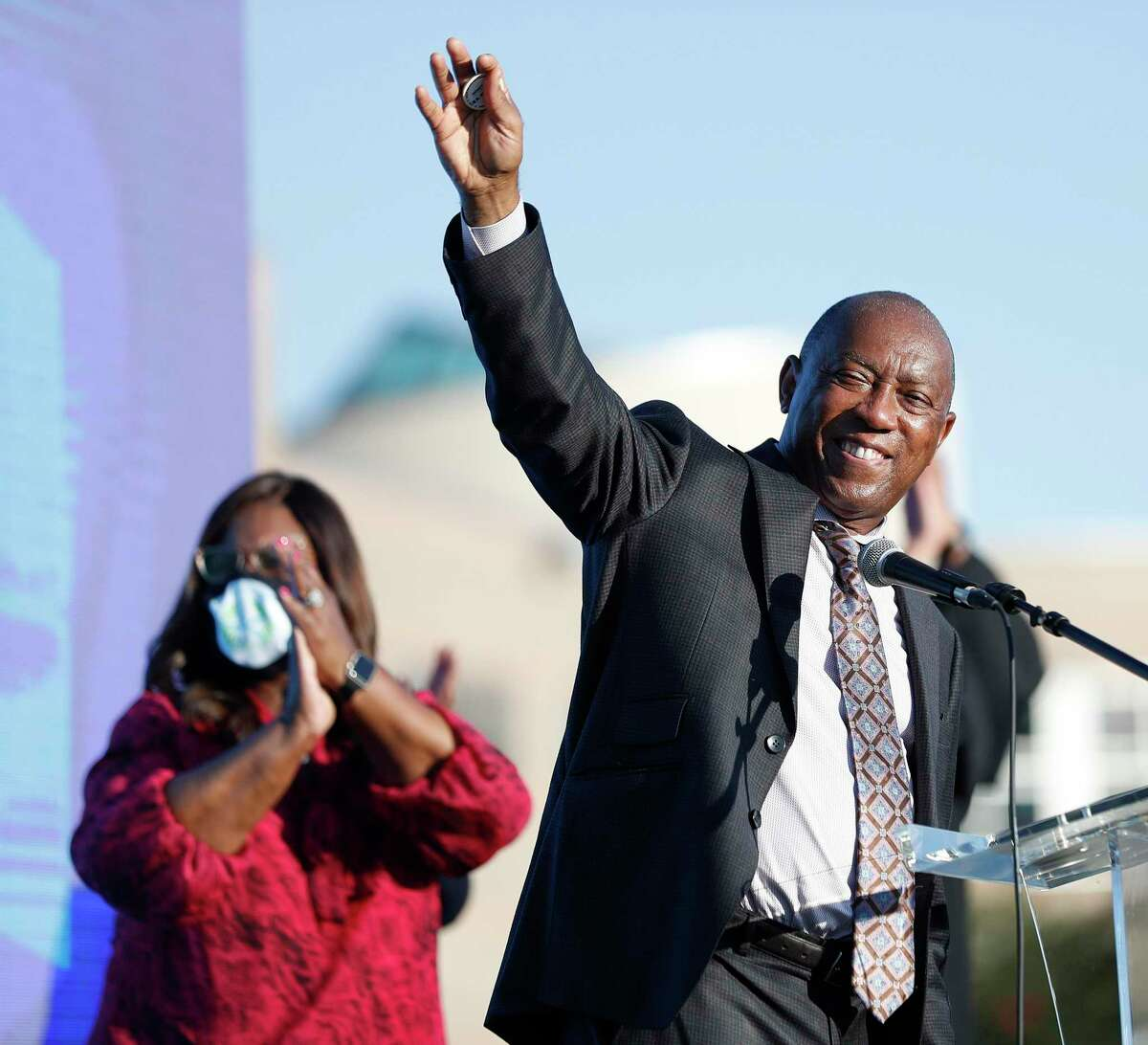 Houston Mayor Sylvester Turner, shown at a graduation celebration last month, ordered the Houston First to invoke a force majeure clause to cancel the Texas Republican Party Convention scheduled for next week. The GOP on Thursday sued Turner and Houston First over the cancellation
