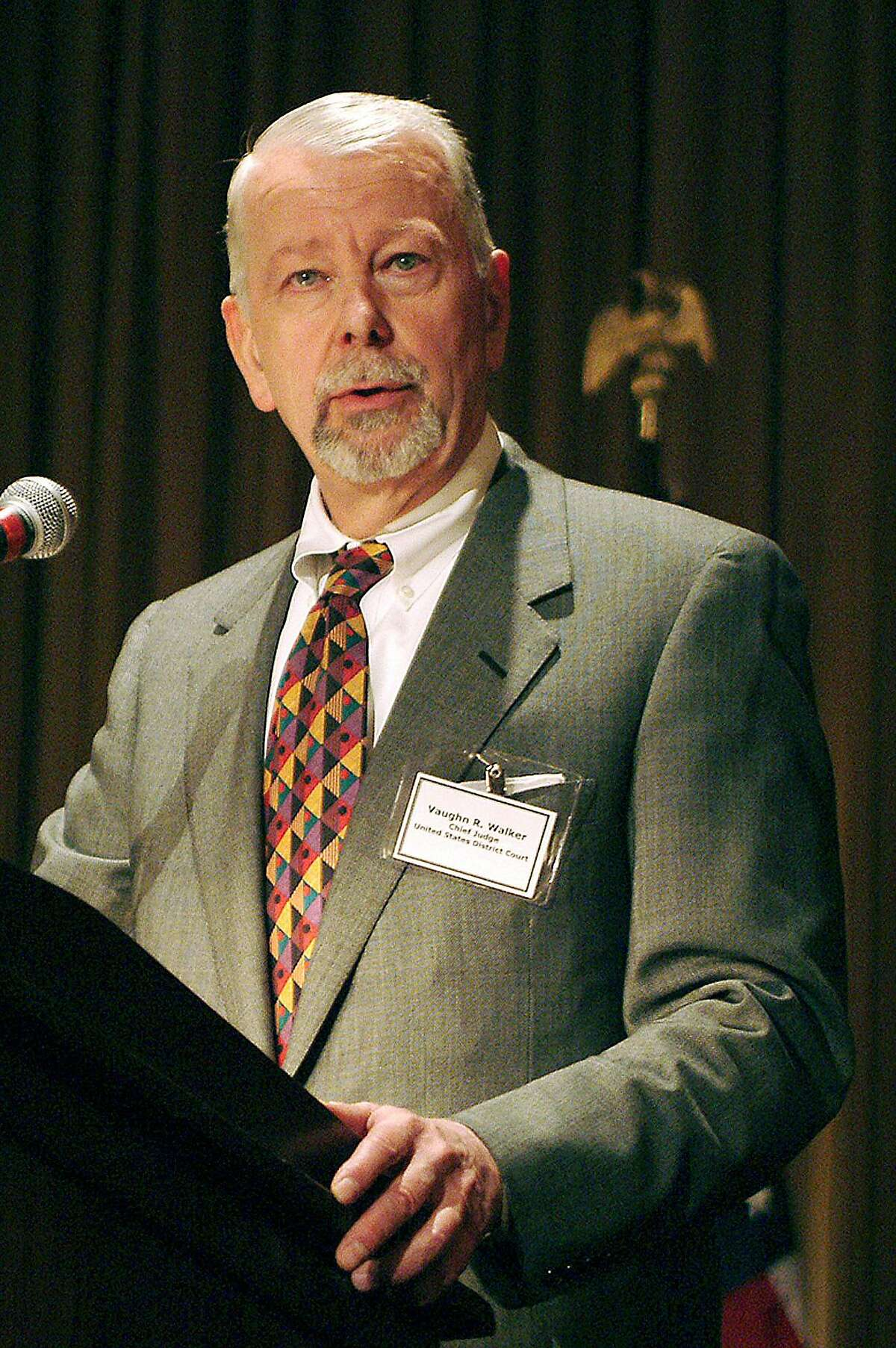 In this July 20 2006 file photo, U.S. District Judge Vaughn Walker speaks at the St. Francis Hotel in San Francisco. Walker is a profile in fragments, a figure sketched from the rare interview, his work product and colleagues' carefully chosen anecdotes. (AP Photo/San Francisco Daily Journal, S. Todd Rogers, file) ** NO SALES MAGS OUT MANDATORY CREDIT **
