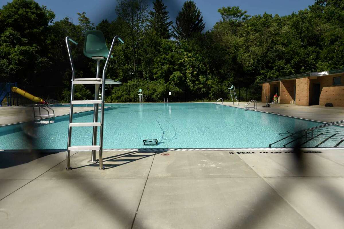 The South Troy Pool is filled with water and is getting closer to opening on Thursday, July 9, 2020 in Troy, N.Y. (Lori Van Buren/Times Union)