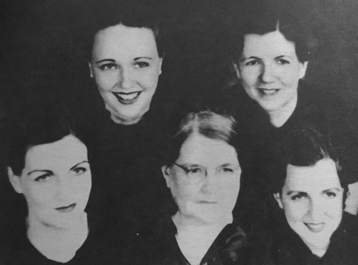 """May Bybee Morris, center, with her daughters, """"The Beautiful Morris Girls."""""""