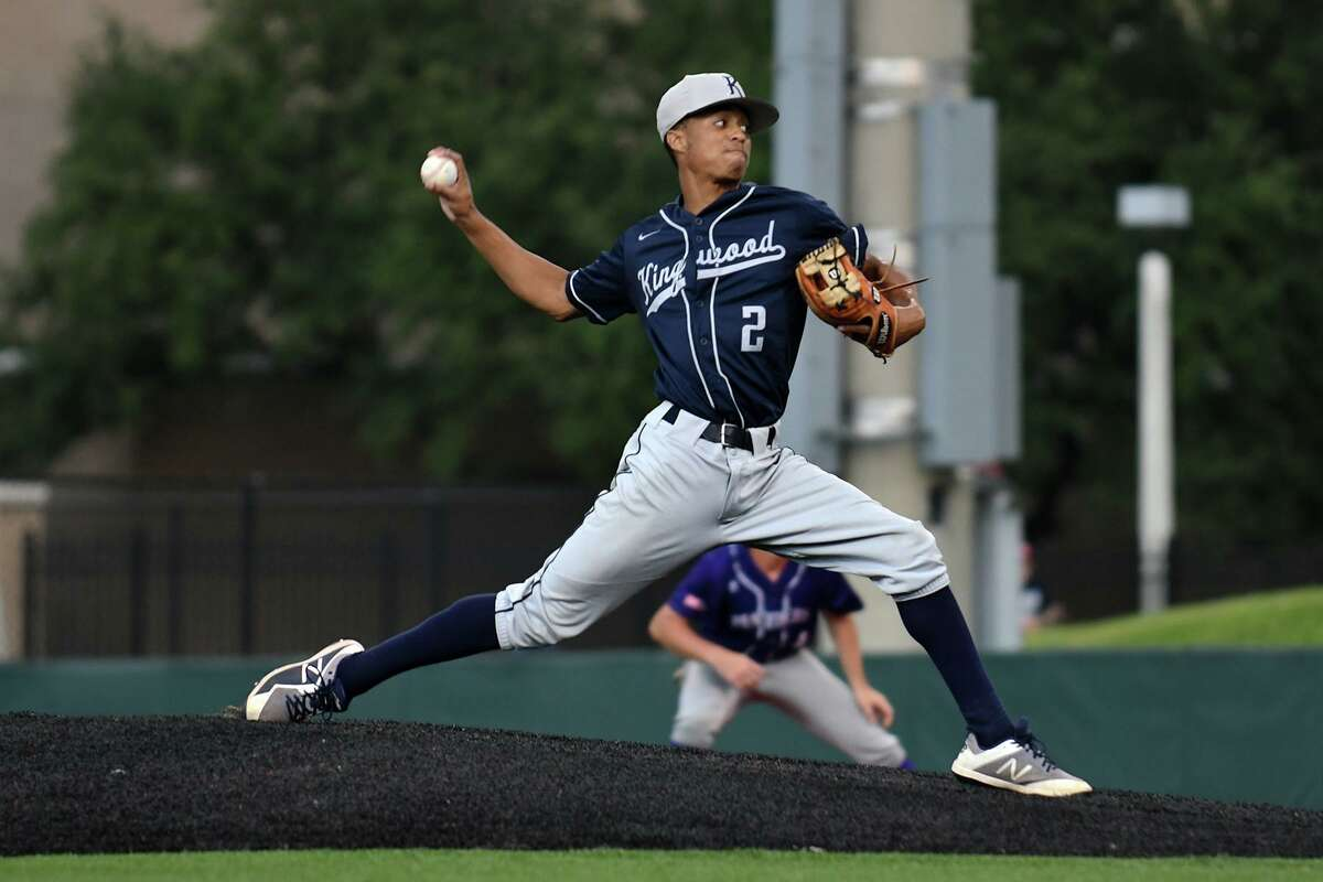 Kingwood pitcher Nick Luckett works to a Ridge Point hitter in the top of the first inning of game one of their Region III-6A final series at the University of Houston on Friday, May 30, 2019.