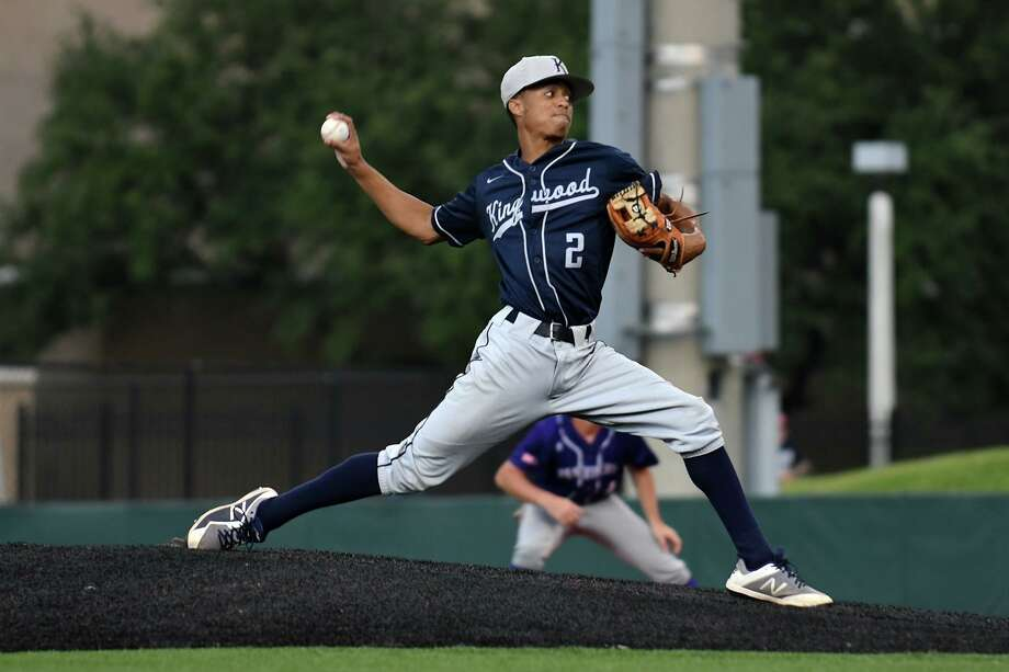 Kingwood pitcher Nick Luckett works to a Ridge Point hitter in the top of the first inning of game one of their Region III-6A final series at the University of Houston on Friday, May 30, 2019. Photo: Jerry Baker, Houston Chronicle / Contributor / Houston Chronicle