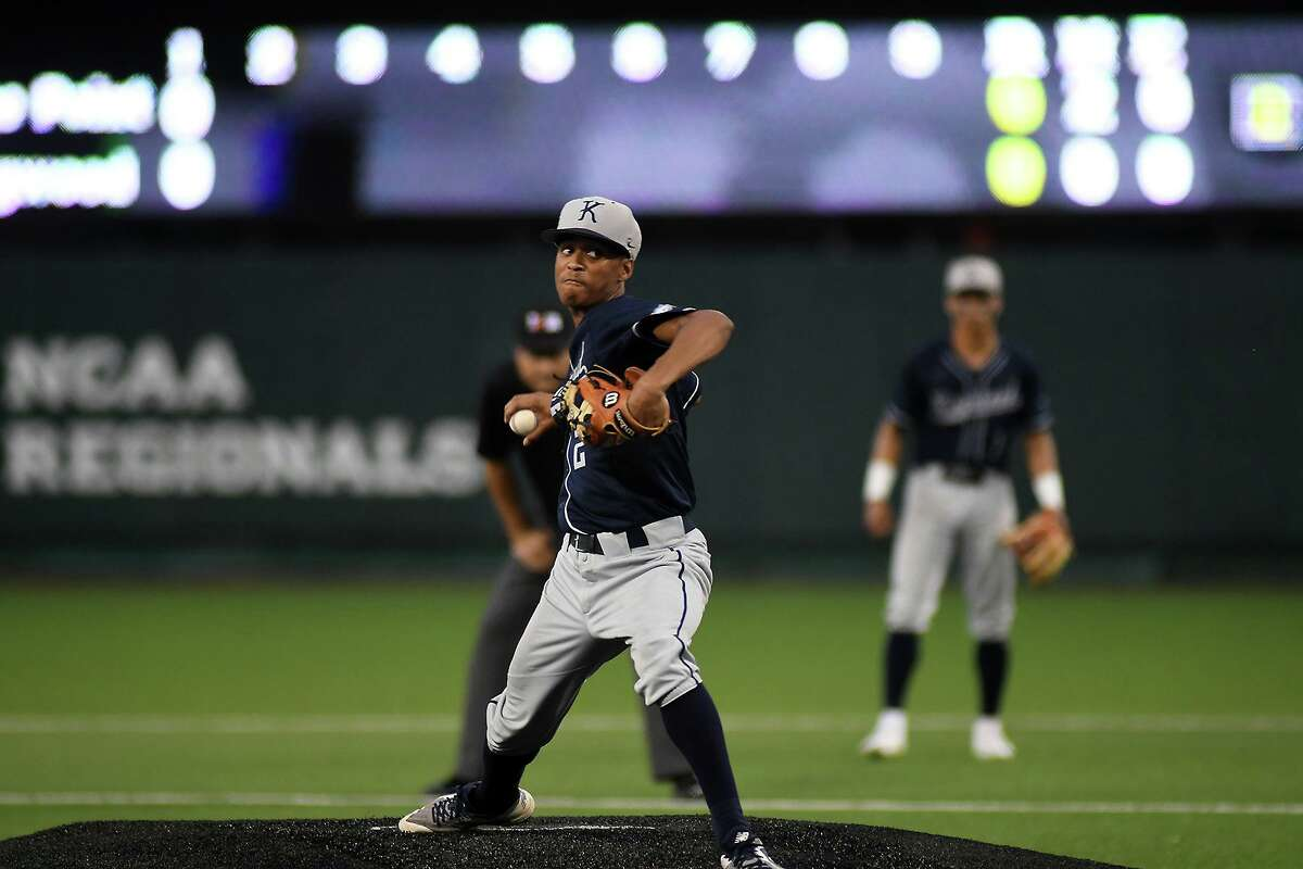 Kingwood pitcher Nick Luckett works to a Ridge Point hitter in the top of the second inning in game one of their Region III-6A final series at the University of Houston on Friday, May 30, 2019.
