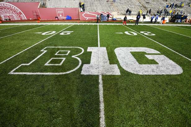 BLOOMINGTON, IN - NOVEMBER 23: The Big Ten Conference logo at Memorial Stadium following a college football game between the Michigan Wolverines and Indiana Hoosiers on November 23, 2019, at Memorial Stadium in Bloomington, IN.(Photo by James Black/Icon Sportswire via Getty Images)