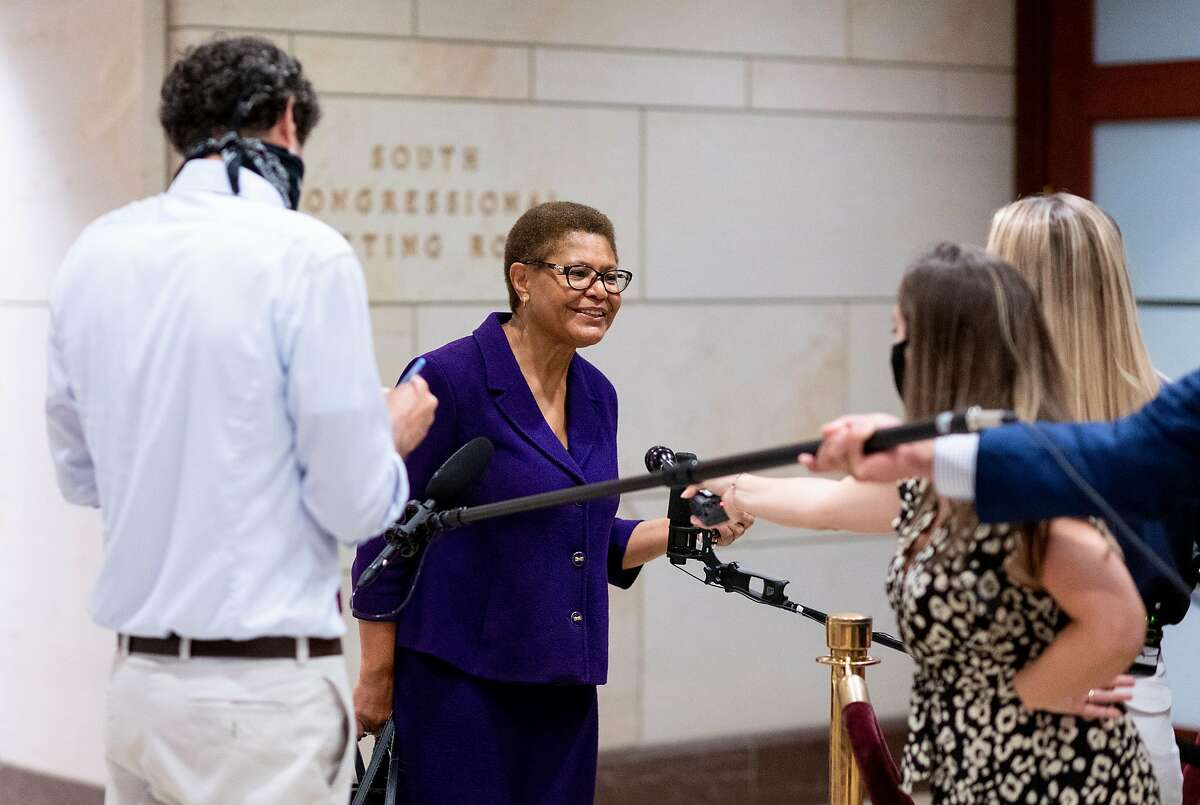 UNITED STATES - JUNE 10: Rep. Karen Bass, D-Calif., chair of the Congressional Black Caucus, speaks with reporters as she arrives for the House Judiciary Committee hearing on policing practices and law enforcement accountability on Wednesday, June 10, 2020. (Photo By Bill Clark/CQ-Roll Call, Inc via Getty Images)