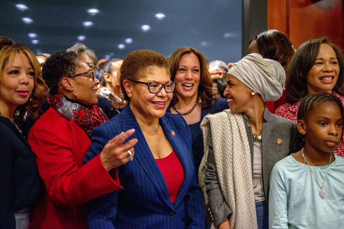 WASHINGTON, D.C. - JANUARY 9, 2019: Sen. Kamala Harris, D-Calif., and Chairman of the Congressional Black Caucus, Rep. Karen Bass, D-Calif., pose for a group picture during an event at the Capital Visitors Center in Northwest Washington, D.C., welcoming the incoming women members of the Congressional Black Caucus on January 9, 2019. CREDIT: Photo by Andrew Mangum for The San Francisco Chronicle
