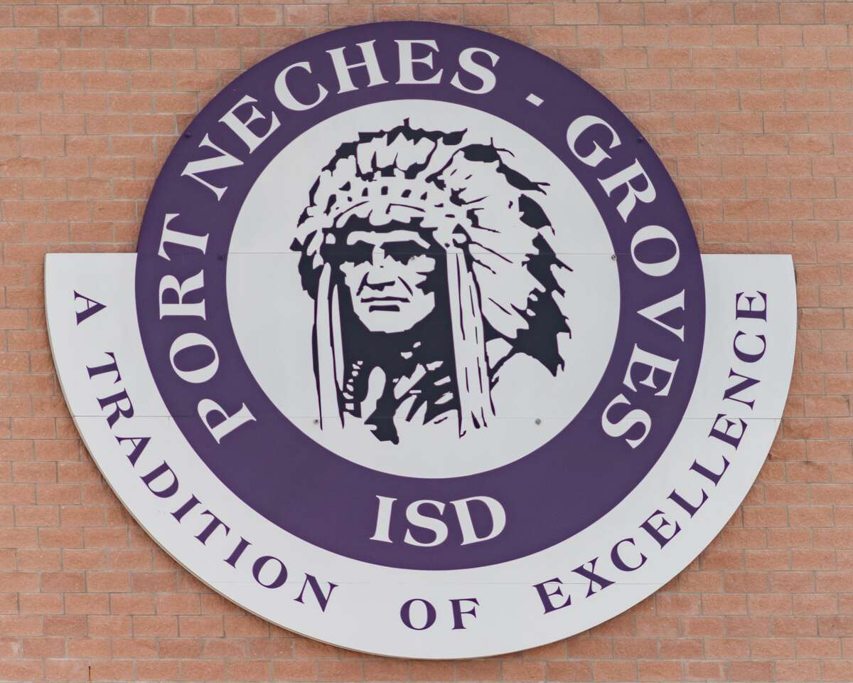 A sign on the outside of the Port Neches-Groves football stadium with the Indians mascot logo. Photo made on July 9, 2020. Fran Ruchalski/The Enterprise