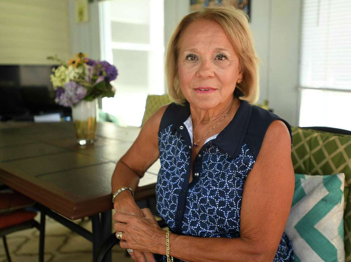 Carole Ardito, president of the North Haven Education Association, at her home in Branford, Conn. on Thursday, July 9, 2020.