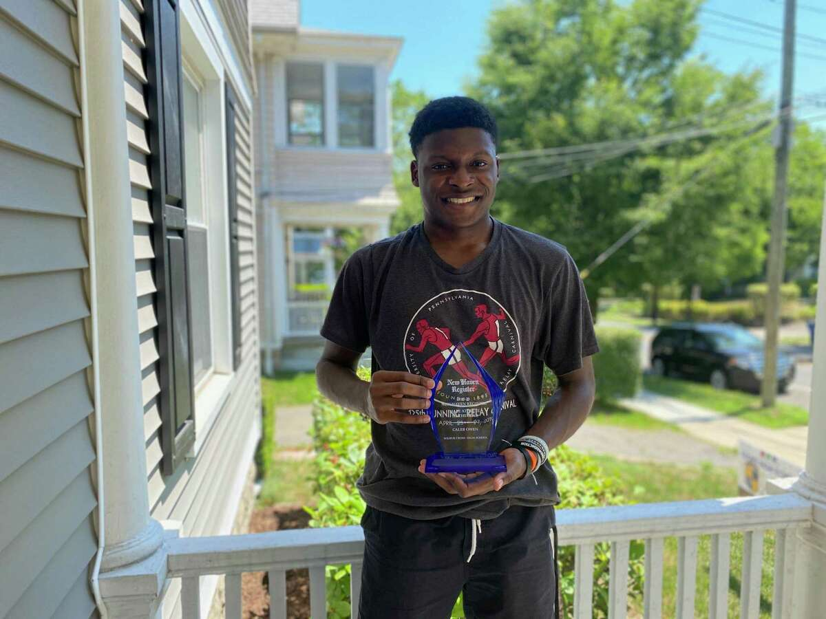 Caleb Owens from Wilbur Cross was the Register's Area MVP for indoor track as a senior.