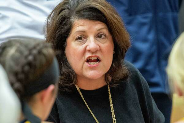 Quinnipiac University head womens basketball coach Tricia Fabbri talks to her team during a game against Siena College at the Siena College Alumni Recreation Center in Colonie, NY on Saturday, Jan. 4, 2020 (Jim Franco/Special to the Times Union.)