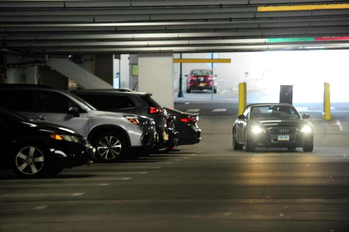 A car enters the Summer Street Garage on Thursday.