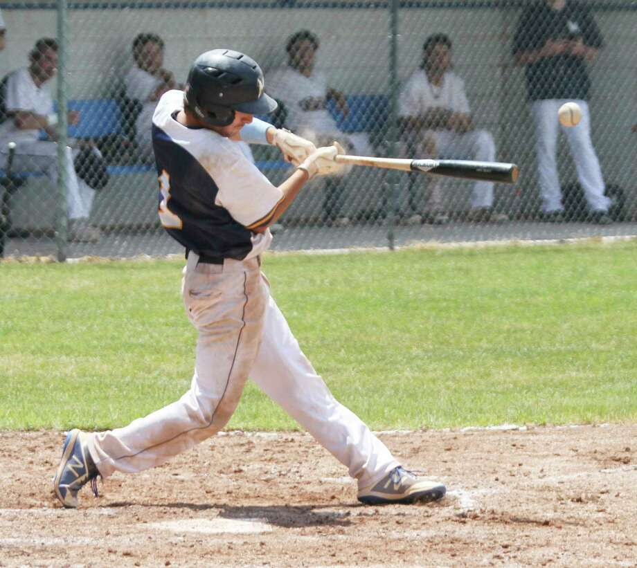 Manistee Saints' Lucas Weinert connects on a pitch at Rietz Park. (News Advocate file photo)