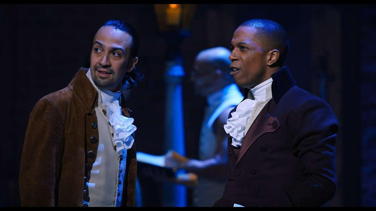 """Lin-Manuel Miranda is Alexander Hamilton and Leslie Odom Jr. is Aaron Burr in the filmed version of """"Hamilton"""""""