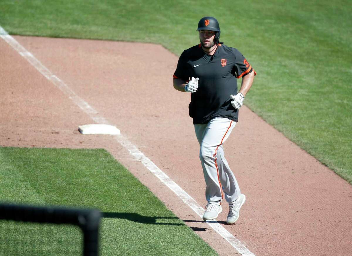 Darin Ruf had two doubles in the Giants' summer training camp at Oracle Park in San Francisco, Calif. on Thursday, July 9, 2020.