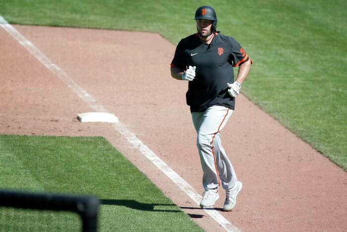 Darin Ruf had two doubles in the Giants summer training camp at Oracle Park in San Francisco, Calif. on Thursday, July 9, 2020.