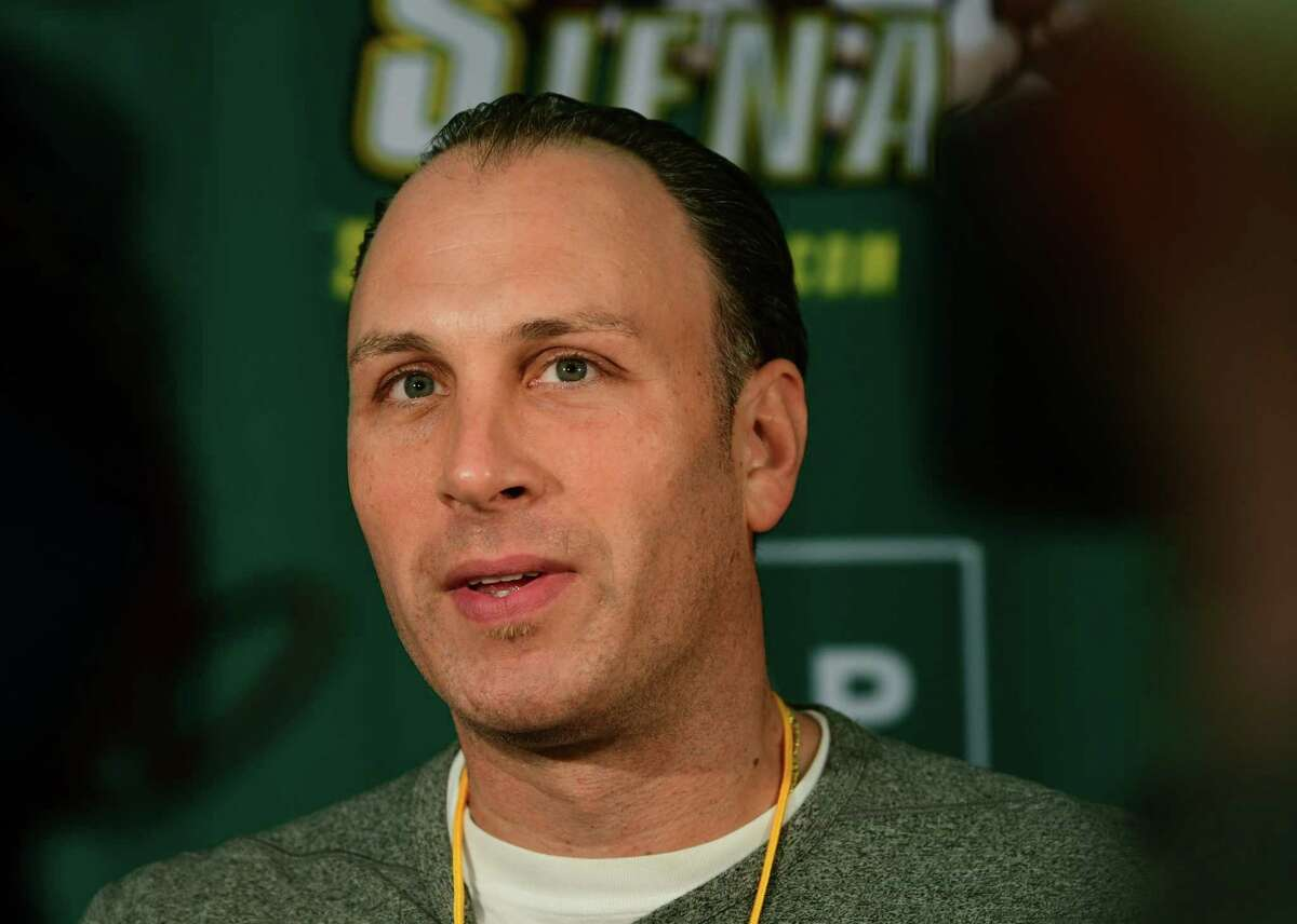 Head Coach Carmen Maciariello talks to the media as the Siena men's basketball team hold its first official practice of the season at Siena College on Thursday, Sept. 26, 2019 in Loudonville, N.Y. (Lori Van Buren/Times Union)