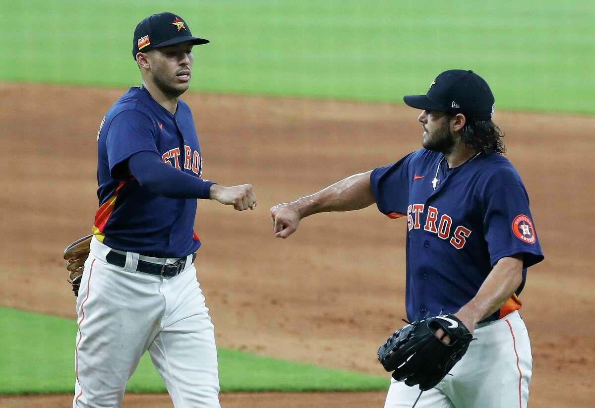 Shortstop Carlos Correa, left, and pitcher Lance McCullers Jr. helped the Astros get to the American League Championship Series for the fourth consecutive year in 2020.