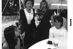 Matilda Cuomo meets with Giffen Elementary School students Maria Vargas, 12, and Jackie Valigorsky, 12, and their mentor Kathleen Pruzek of Albany at a Governora€™s Mansion picnic Friday in recognition of the mentor program on July 10, 1992. (John Carl D'Annibale/Times Union Archive)
