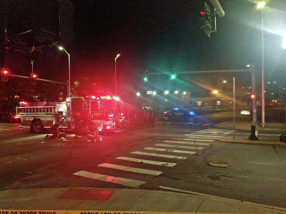 First responders on scene for a crash involving a motorcycle at State Street and Park Avenue in Bridgeport, Conn., on Thursday, July 9, 2020. Photo: Contributed Photo