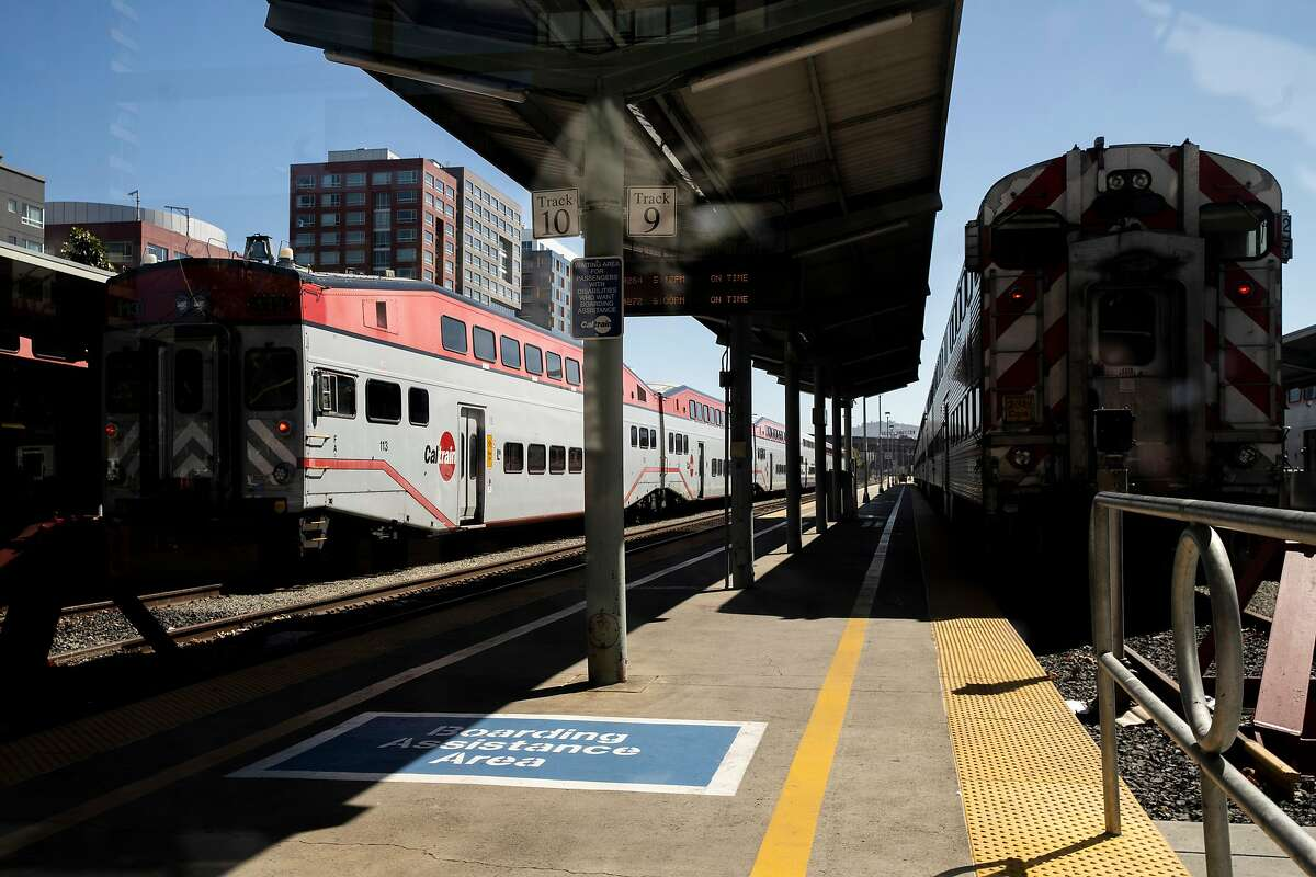 Caltrain Station at King Street and 4th Street on Thursday, July 9, 2020, in San Francisco, Calif. California rolled out its vision for high-speed trains between San Jose and San Francisco on Thursday, plotting a 30 or so minute ride on what would be one of the busiest stretches of the state's proposed 520-mile rail system. The California High Speed Rail Authority is calling for 220-mph trains, coming from the Central Valley, to merge onto the Caltrain commuter line for a 49-mile jaunt up the Peninsula. Stops would be made at San Jose's Diridon Station, a new hub in Millbrae and at the Caltrain depot in San Francisco. The San Francisco stop would eventually move to Transbay transit center.