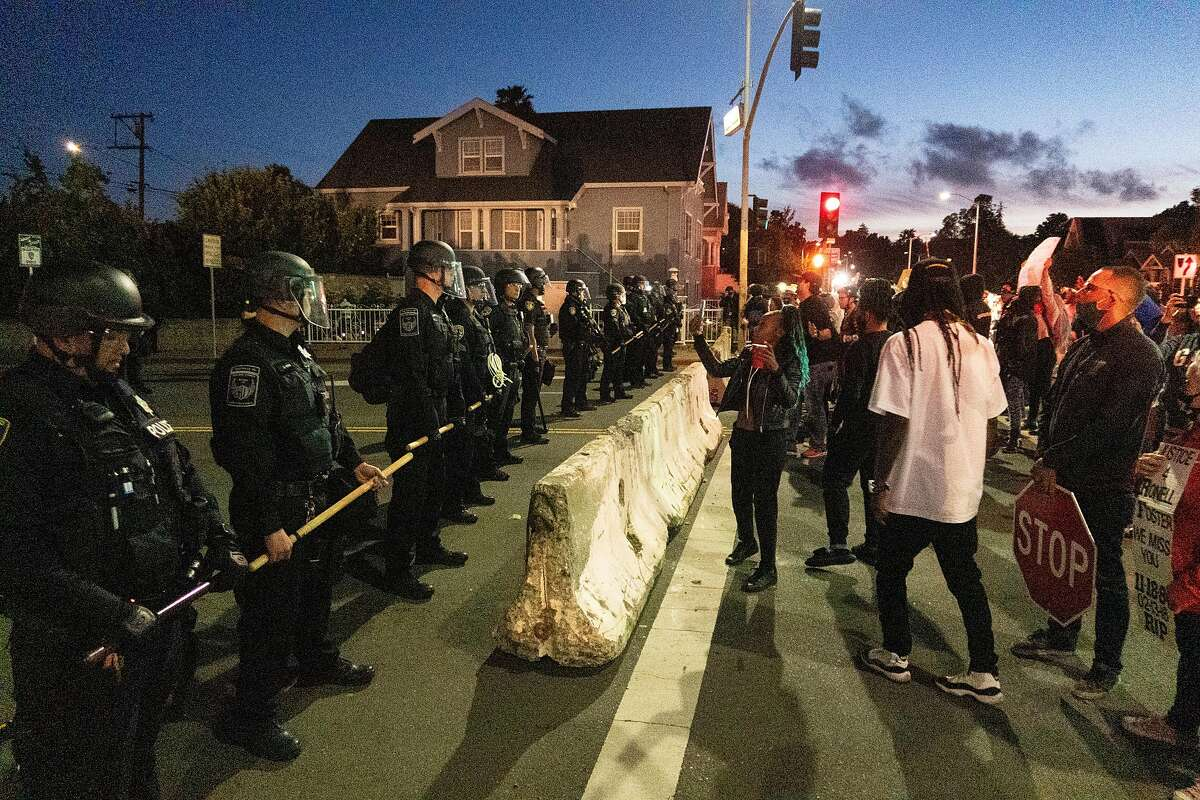 Protesters near the Vallejo Police Department during a protest against the police killing of Sean Monterrosa in Vallejo, Calif., Friday, June 5, 2020