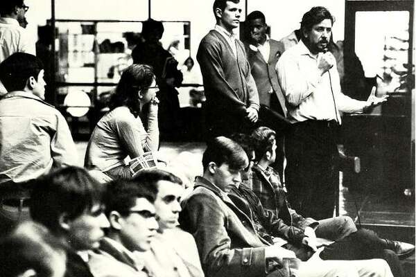 Students and faculty gather at the SIUE Student Center for a discussion after four protesters at Kent State University were shot and killed by the Ohio National Guard in May 1970.