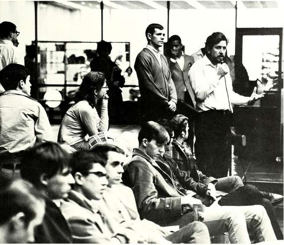 Students and faculty gather at the SIUE Student Center for a discussion after four protesters at Kent State University were shot and killed by the Ohio National Guard in May 1970. Photo: For The Intelligencer