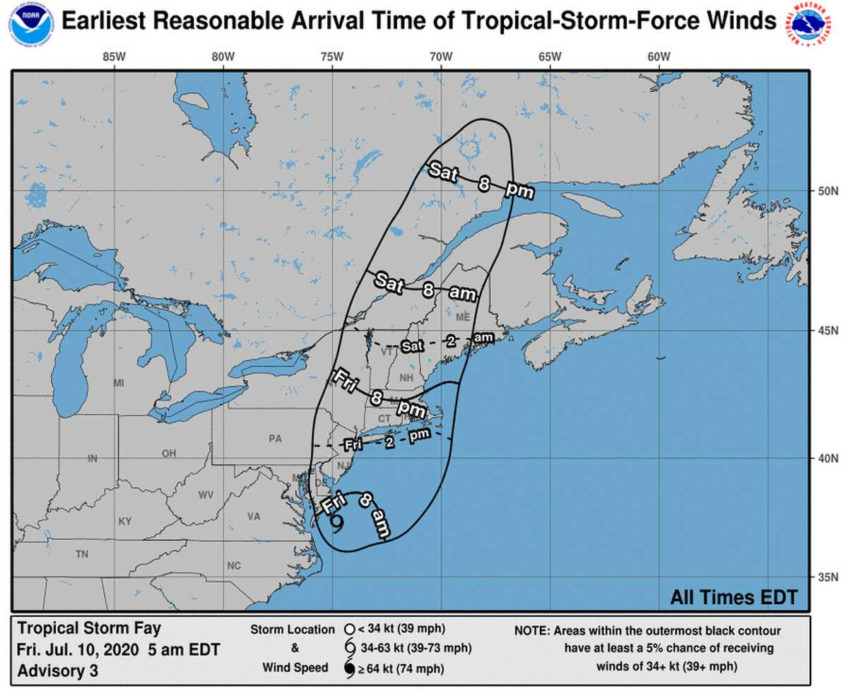 Arrival time of winds from Tropical Storm Fay.