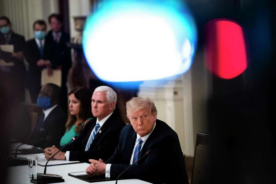 President Trump participates in a roundtable discussion at the White House about reopening the nation's schools. Photo: Washington Post Photo By Jabin Botsford. / The Washington Post
