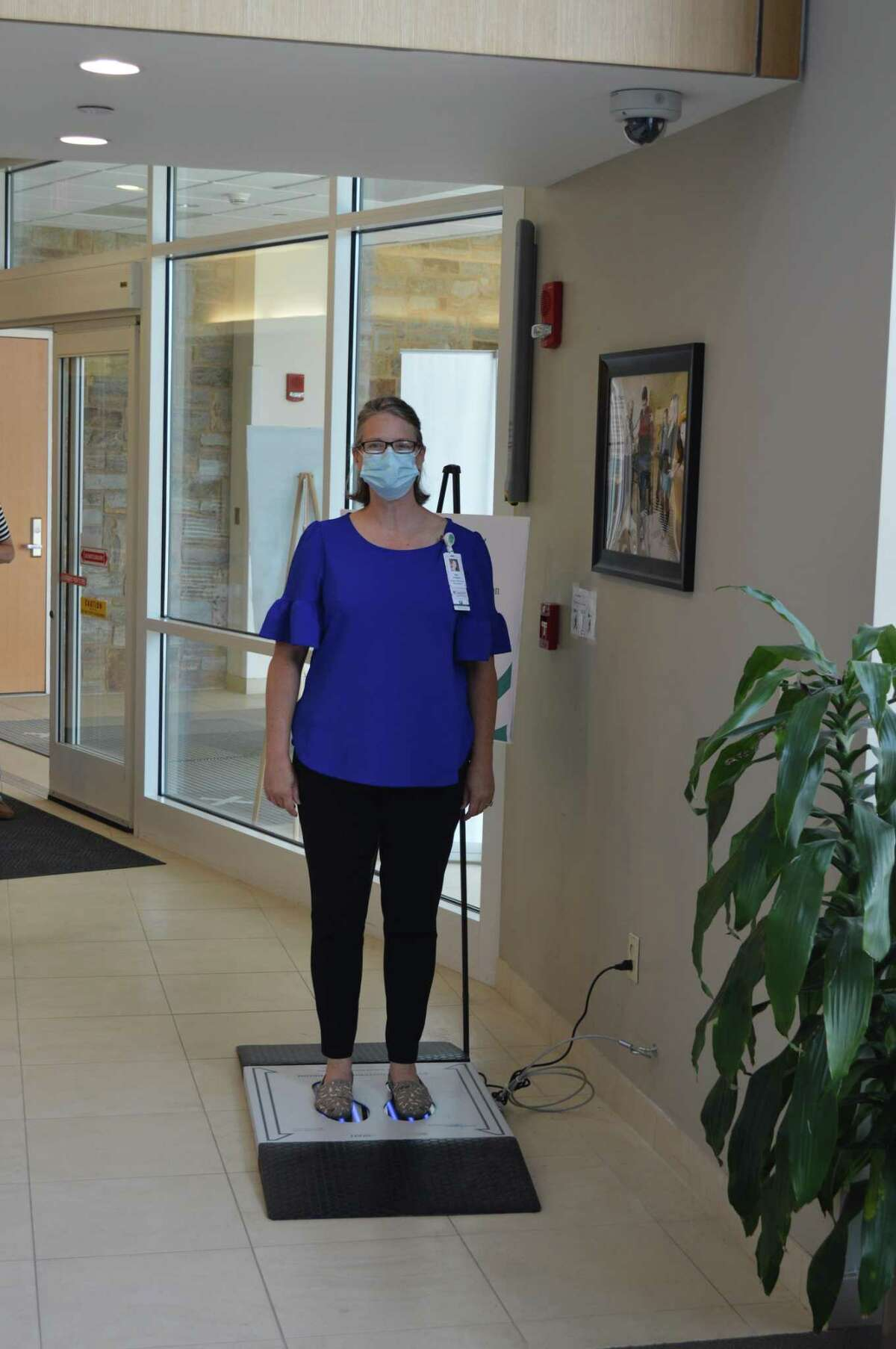 Gaylord Specialty Healthcare announced this week that it had begun using a new technology from Patho3Gen Solutions to disinfect shoes during the pandemic. Here, Kristelle Caslangen, RN, uses the device.