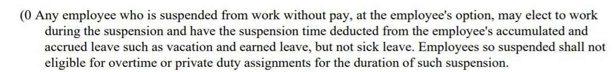 Explanation: Hartford police officers can continue to get paid while on suspension without pay by using vacation time instead.