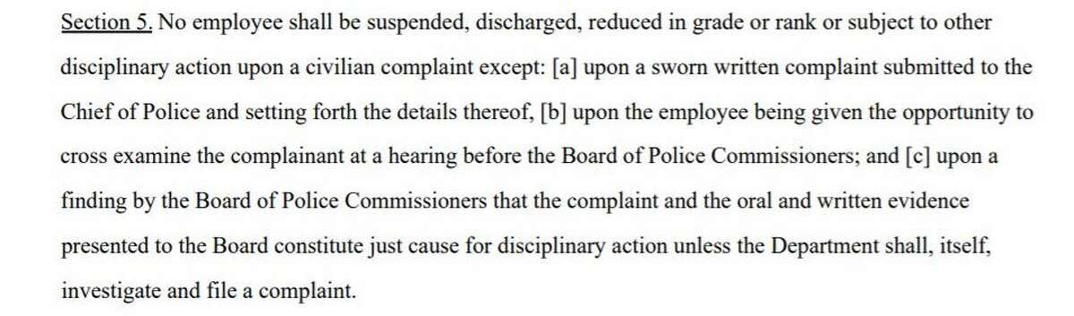 Explanation: In Easton, a person has to submit a sworn statement when filing a complaint against an officer, making it so anonymous complaints can't be used against an officer.