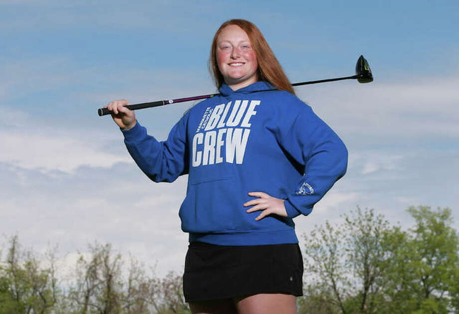 Marquette Catholic sophomore Gracie Piar is the 2019 Telegraph Girls Golfer of the Year. Piar, a two-time top-25 placer at the Class 1A state tourney, also won the award last year as a freshman. Photo: Billy Hurst, Front Row Photo | For The Telegraph