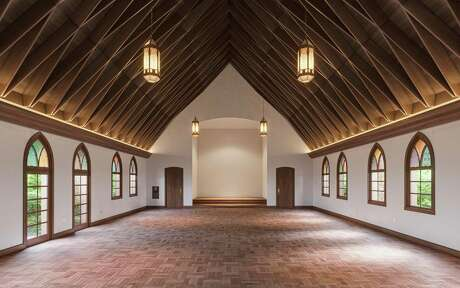 Once a school room, the chapel at Commodore Perry Estate is booked for weddings.