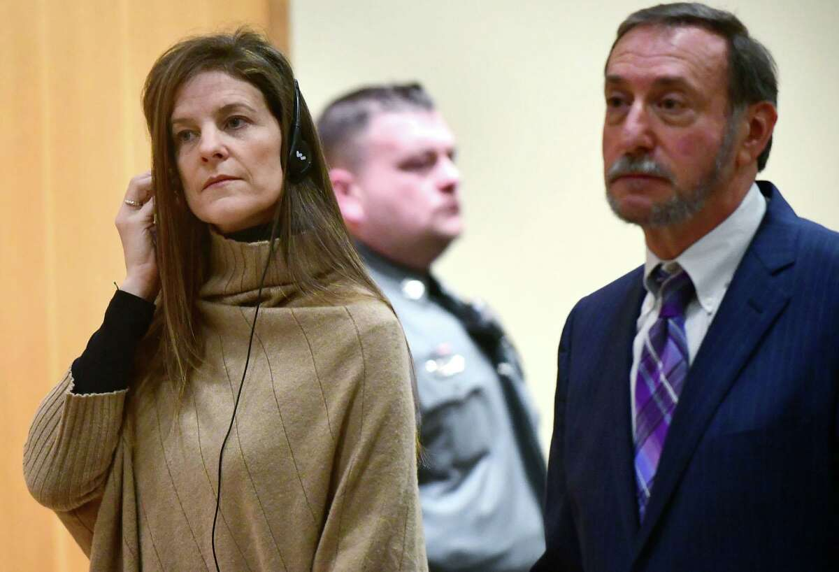 Michelle Troconis, charged with conspiracy to commit murder in the disappearance of Jennifer Dulos, appears for a pretrial hearing with her attorney Jon L. Schoenhorn in February.