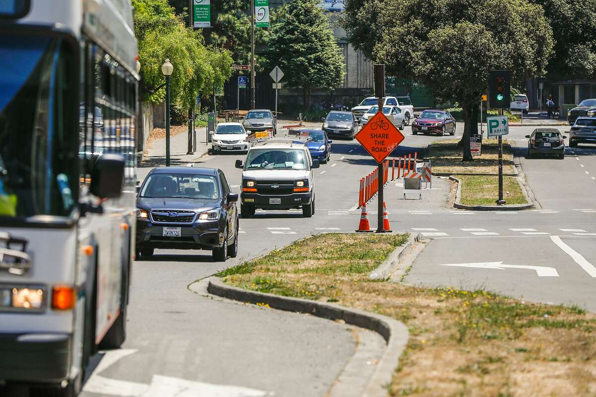 Vehicles drive on Oxford Street on Wednesday, July 8, 2020 in Berkeley, California.