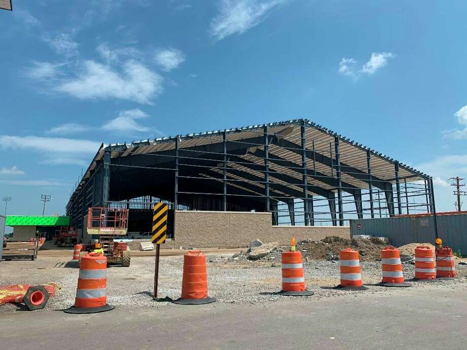 Construction on the Laker Legacy Center continues after the state shutdown due to the coronavirus with a deadline later than anticipated. (Paige Withey/Huron Daily Tribune)