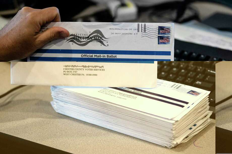 Mail-in ballots ready for processing in advance of a primary election. Photo: Associated Press / Copyright 2020 The Associated Press. All rights reserved.