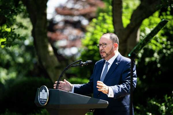 Goya Foods Inc. CEO Robert Unanue speaks alongside President Trump before Trump signs an executive order on the White House Hispanic Prosperity Initiative in the Rose Garden at the White House on July 9.