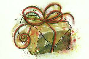 """Chronicle illustration ``GIFT''  by Frances Thiel.     HOUCHRON CAPTION (12/02/2001-2-STAR):  Still reeling from Tropical Storm Allison, Houston charities and nonprofit organizations had to cope with the emotional impact of terrorist attacks and military action and a local economy hit by layoffs. The needy in Houston are needier than ever, and the nonprofits who serve them are asking to be remembered this holiday season. GIVE WITH HOLIDAY SPIRIT.     HOUCHRON CAPTION (12/02/2001):  None.     HOUCHRON CAPTION (12/25/2001):  Some gifts will be greeted today with giggles and glee. Others will be welcomed with a forced smile and a line that goes something like this: """"Oh, my. You ``shouldn't'' have. You . . . ``really'' shouldn't . . . have."""" These are the Bad Gifts. Everybody has a Bad Gift story."""