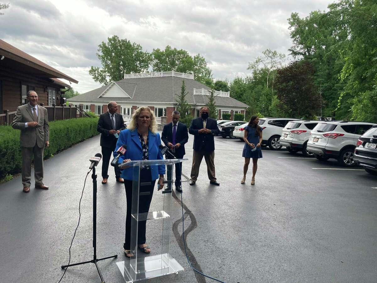 Attorney Cynthia LaFave speaks to reporters on Friday, July 10, 2020 about a possible plea deal in the Schoharie limousine crash that killed 20 people on Oct. 6, 2018. LaFave represents the families of victims of the crash and says they feel they've been shut out of discussions about a plea bargain in the case.