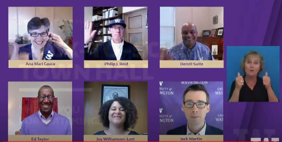 Campus and academic leaders participate in a virtual town hall to discuss hybrid approach in the fall. Photo: University Of Washington