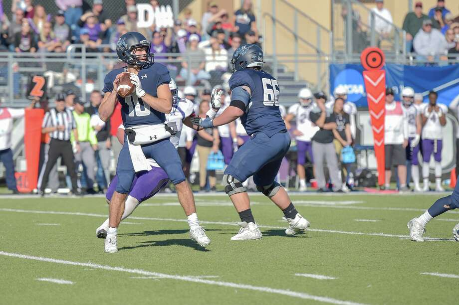 Colorado School of Mines quarterback John Matocha drops back to pass in a game back in November of 2019. Photo: Steve Oathout / Colorado School Of Mines Athletics