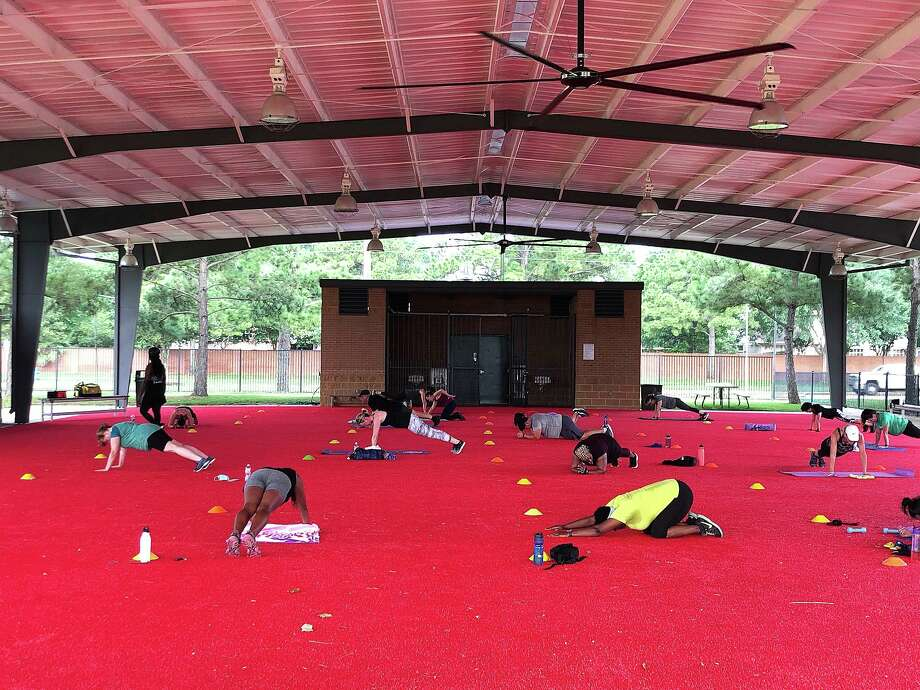 The outdoor airnasium pavilion has been transformed into an open-air studio to allow for socially distant group exercise classes. The Aire Fitness® portable fitness studios space features over 8,000 square feet of covered turf space and is outfitted with functional fitness equipment. Photo: Submitted