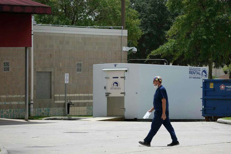 A refrigerated trailer was rolled into a loading area at HCA Healthcare Northwest when that hospital's morgue became full after a surge of COVID-19 deaths. Photographed July 1, in Houston.
