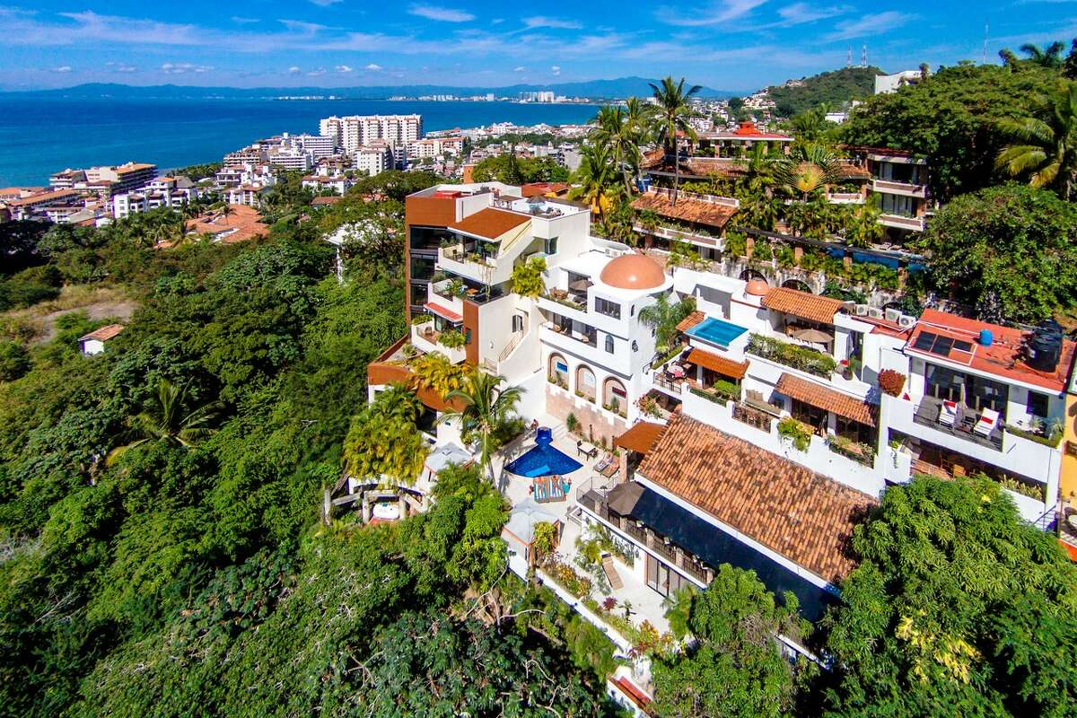 """Casa Cupula overlooks Puerto Vallarta and Banderas Bay. The popular boutique hotel is pushing its new 10-point plan for """"safe socializing"""" amid the COVID-19 pandemic"""