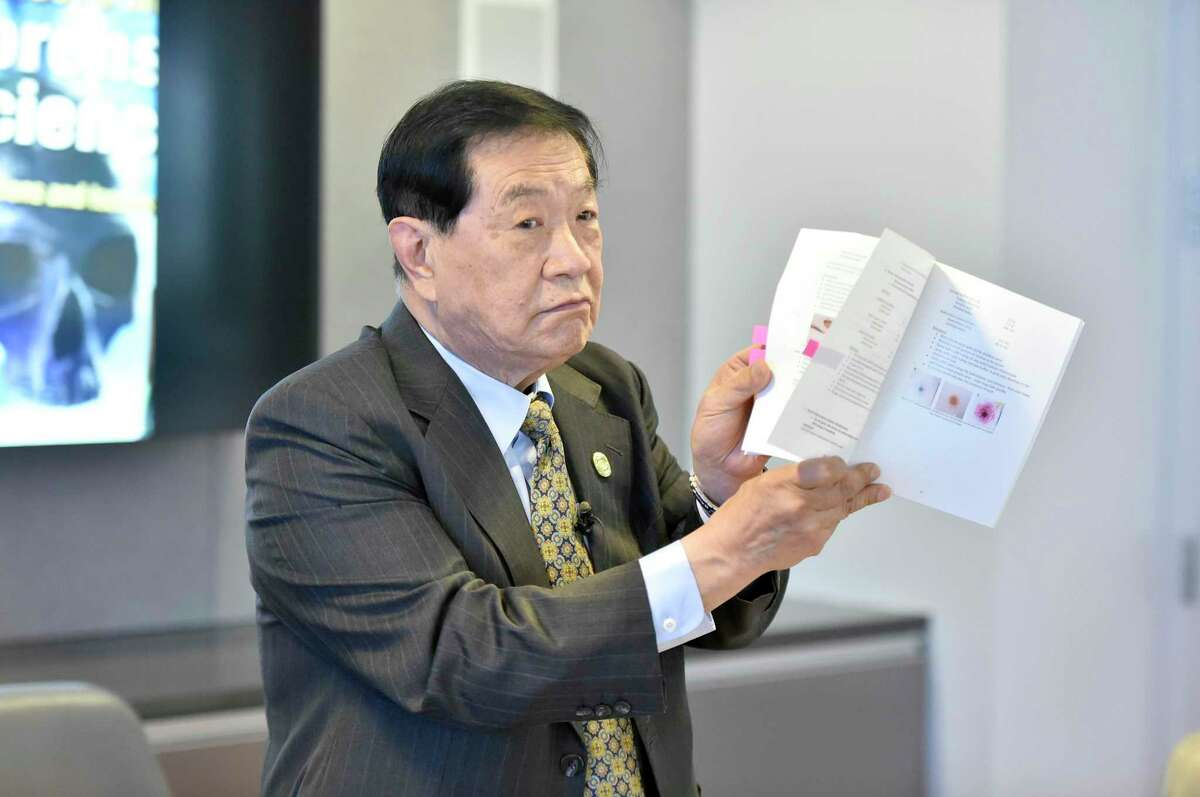 Dr. Henry Lee holds a press conference in 2019 at the University of New Haven refuting the state Supreme Court ruling that, as the state's top criminologist at the time, he had given false testimony in the 1989 conviction of Shawn Henning and Ralph Birch in the 1985 murder of 65-year-old Everett Carr.